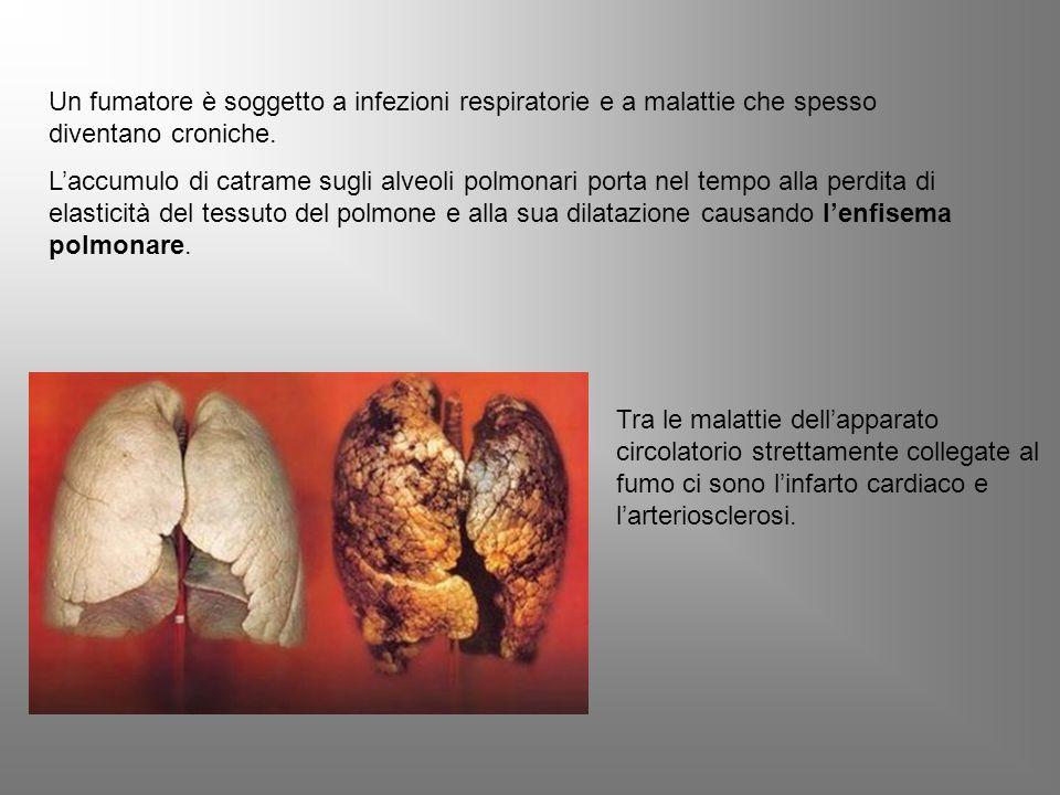 Un fumatore è soggetto a infezioni respiratorie e a malattie che spesso diventano croniche.