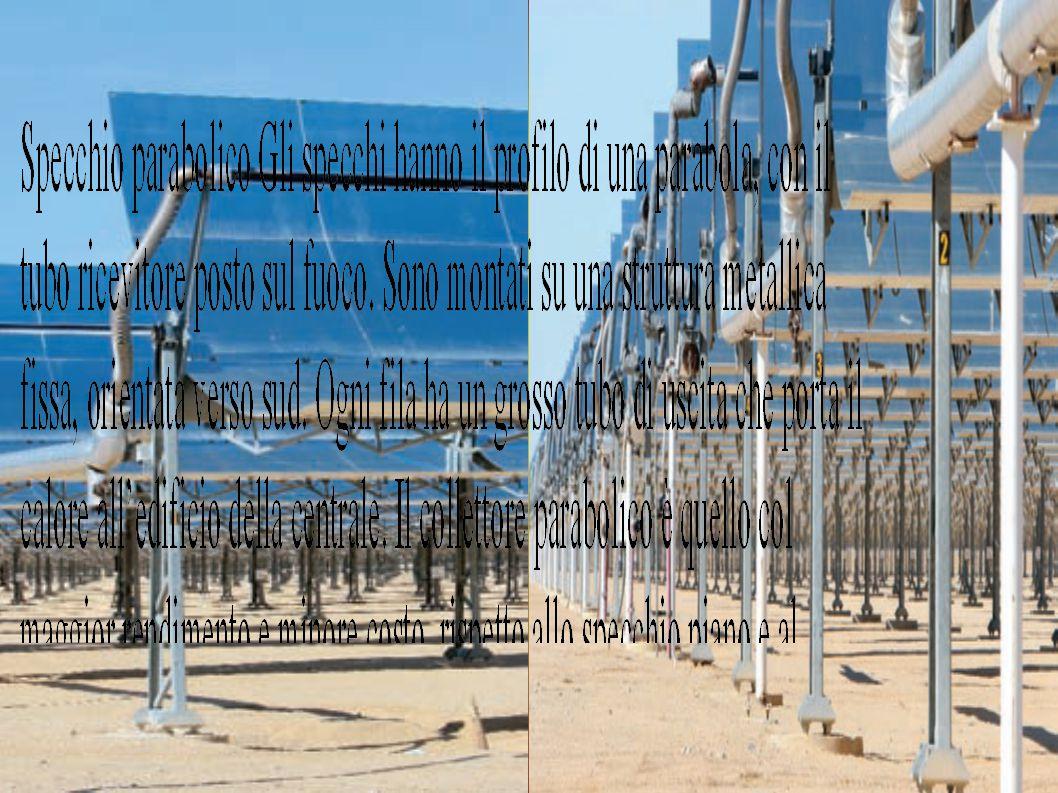 Centrale solare a specchi piani Questa centrale elettrica è una piattaforma coperta da centinaia di eliostati, grandi pannelli ricoperti da specchi piani.