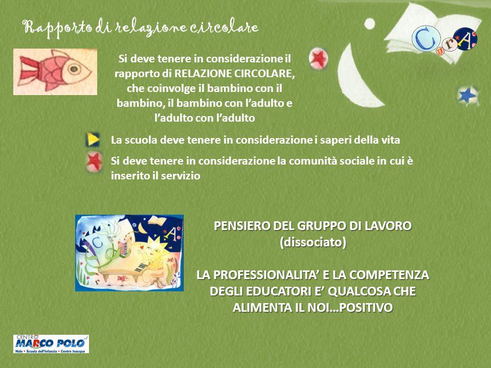 Rapporto di relazione circolare Si deve tenere in considerazione il rapporto di RELAZIONE CIRCOLARE, che coinvolge il bambino con il bambino, il bambi