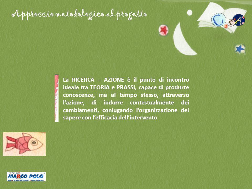Approccio metodologico al progetto La RICERCA – AZIONE è il punto di incontro ideale tra TEORIA e PRASSI, capace di produrre conoscenze, ma al tempo s