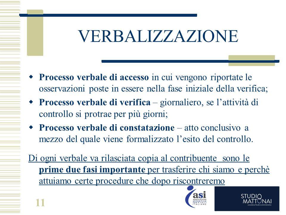 11 VERBALIZZAZIONE  Processo verbale di accesso in cui vengono riportate le osservazioni poste in essere nella fase iniziale della verifica;  Proces