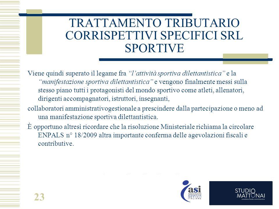 """23 TRATTAMENTO TRIBUTARIO CORRISPETTIVI SPECIFICI SRL SPORTIVE Viene quindi superato il legame fra """"l'attività sportiva dilettantistica"""" e la """"manifes"""