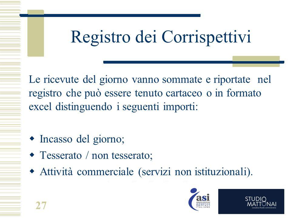 Registro dei Corrispettivi Le ricevute del giorno vanno sommate e riportate nel registro che può essere tenuto cartaceo o in formato excel distinguend