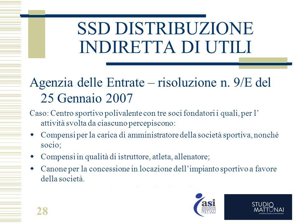 28 SSD DISTRIBUZIONE INDIRETTA DI UTILI Agenzia delle Entrate – risoluzione n. 9/E del 25 Gennaio 2007 Caso: Centro sportivo polivalente con tre soci