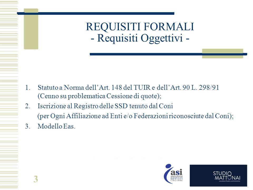 3 REQUISITI FORMALI - Requisiti Oggettivi - 1.Statuto a Norma dell'Art. 148 del TUIR e dell'Art. 90 L. 298/91 (Cenno su problematica Cessione di quote