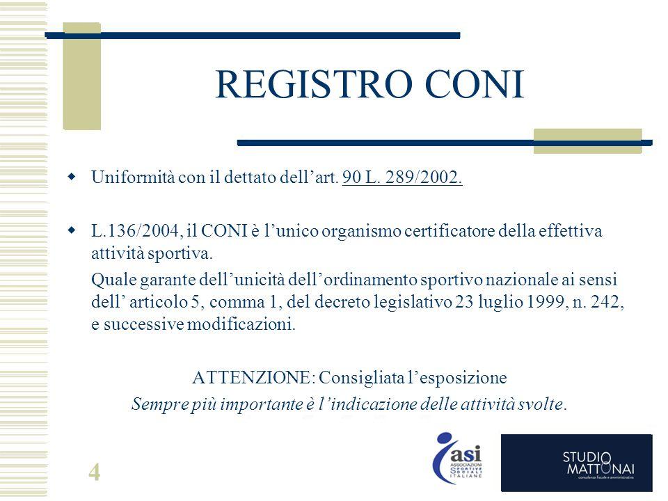 4 REGISTRO CONI  Uniformità con il dettato dell'art. 90 L. 289/2002.  L.136/2004, il CONI è l'unico organismo certificatore della effettiva attività