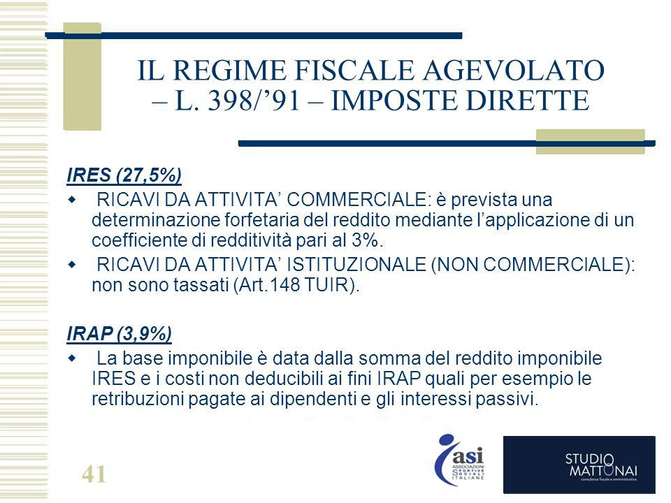 41 IL REGIME FISCALE AGEVOLATO – L. 398/'91 – IMPOSTE DIRETTE IRES (27,5%)  RICAVI DA ATTIVITA' COMMERCIALE: è prevista una determinazione forfetaria