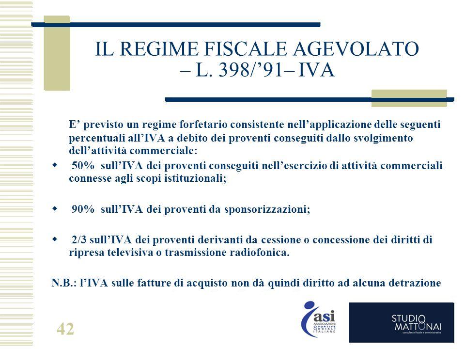 42 IL REGIME FISCALE AGEVOLATO – L. 398/'91– IVA E' previsto un regime forfetario consistente nell'applicazione delle seguenti percentuali all'IVA a d