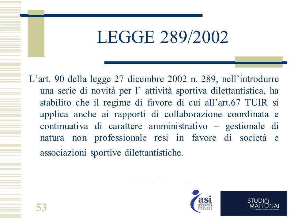 53 LEGGE 289/2002 L'art. 90 della legge 27 dicembre 2002 n. 289, nell'introdurre una serie di novità per l' attività sportiva dilettantistica, ha stab