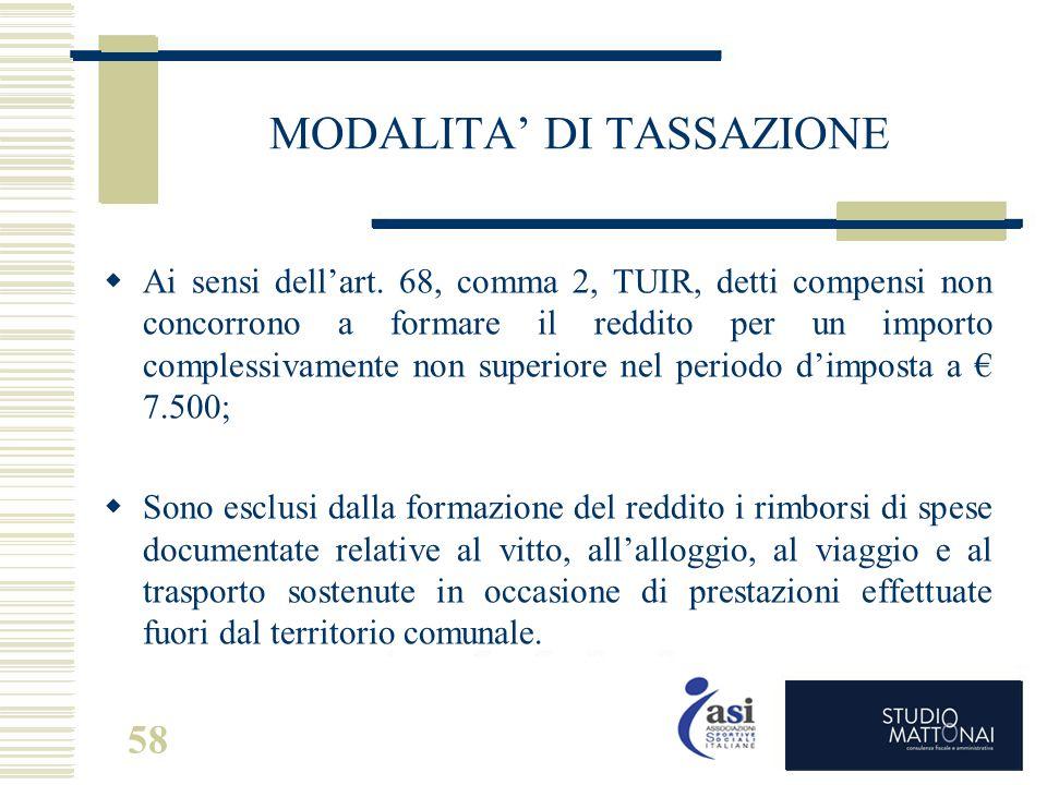 58 MODALITA' DI TASSAZIONE  Ai sensi dell'art. 68, comma 2, TUIR, detti compensi non concorrono a formare il reddito per un importo complessivamente