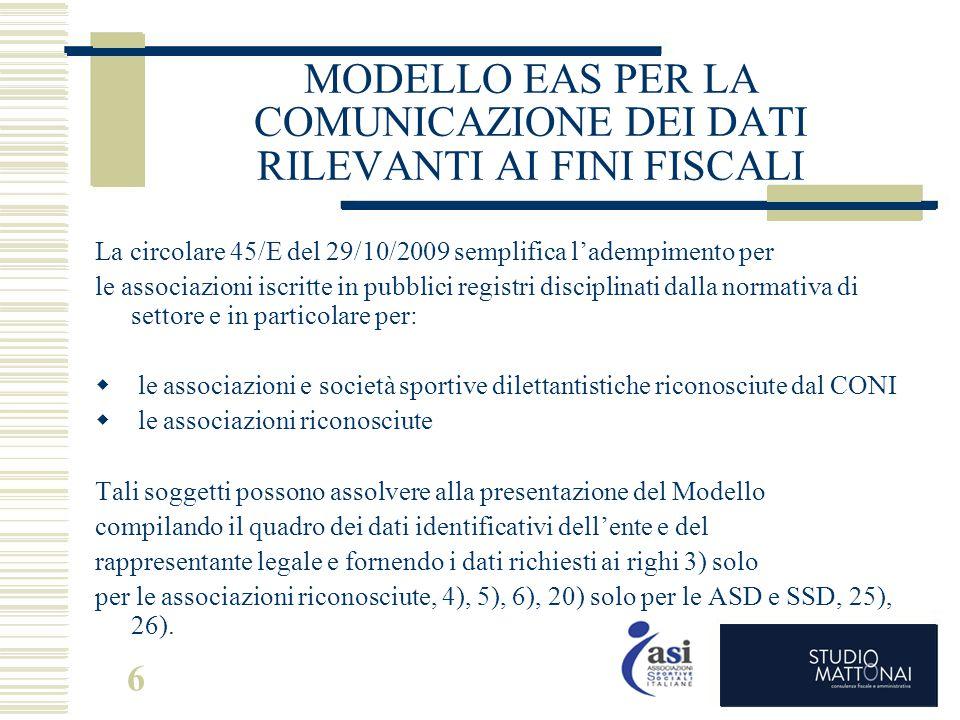 6 MODELLO EAS PER LA COMUNICAZIONE DEI DATI RILEVANTI AI FINI FISCALI La circolare 45/E del 29/10/2009 semplifica l'adempimento per le associazioni is