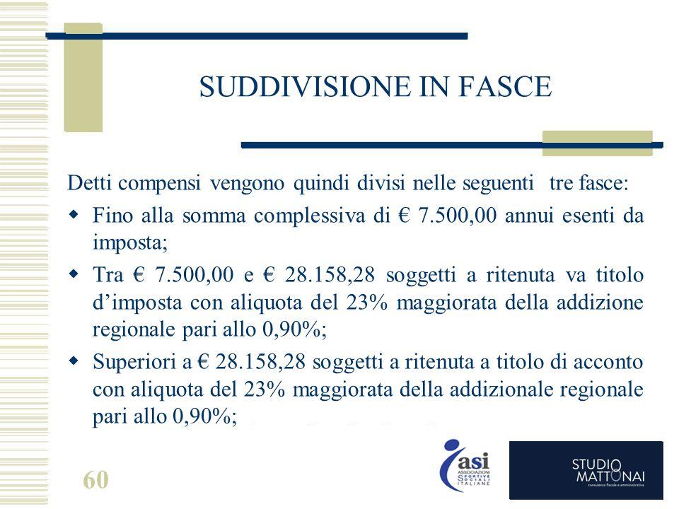 60 SUDDIVISIONE IN FASCE Detti compensi vengono quindi divisi nelle seguenti tre fasce:  Fino alla somma complessiva di € 7.500,00 annui esenti da im