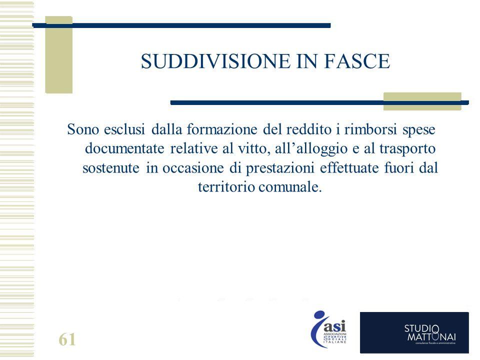 61 SUDDIVISIONE IN FASCE Sono esclusi dalla formazione del reddito i rimborsi spese documentate relative al vitto, all'alloggio e al trasporto sostenu