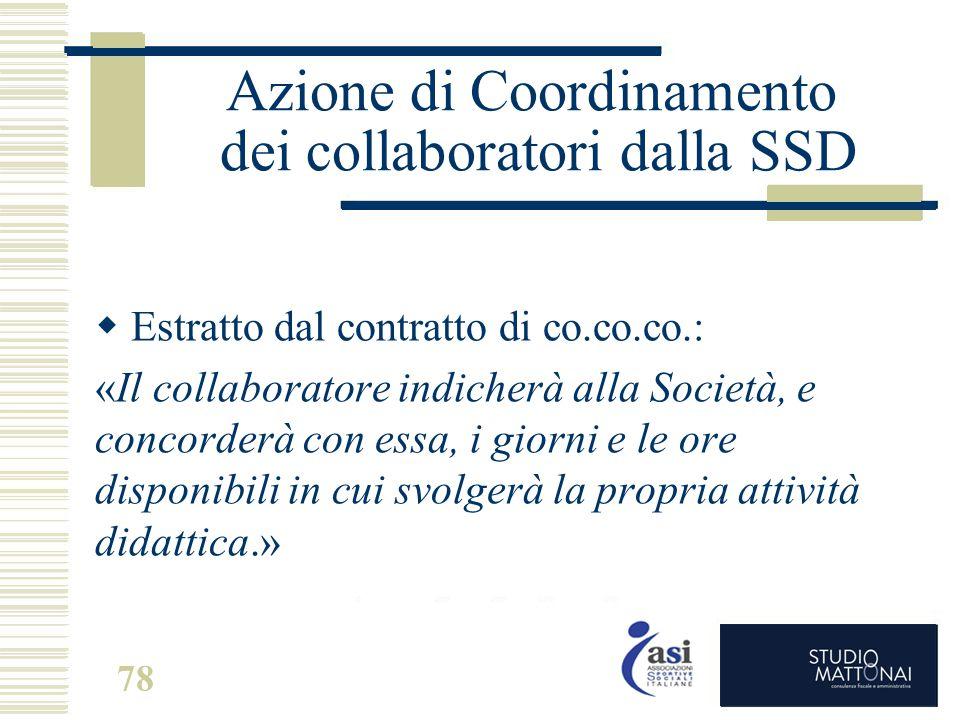 Azione di Coordinamento dei collaboratori dalla SSD  Estratto dal contratto di co.co.co.: «Il collaboratore indicherà alla Società, e concorderà con
