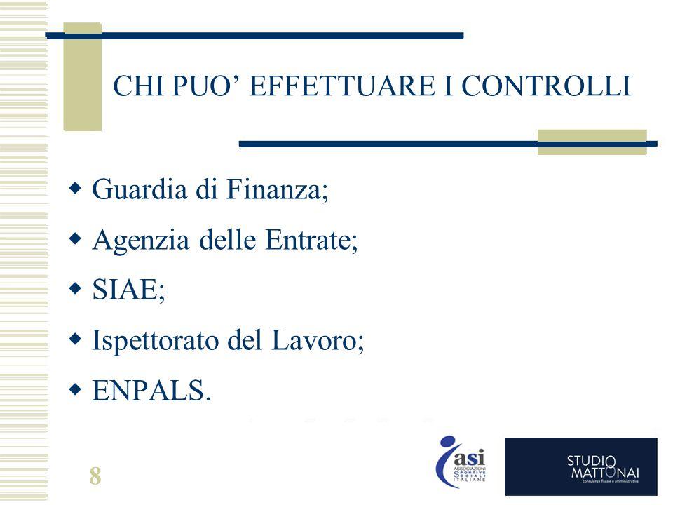 8 CHI PUO' EFFETTUARE I CONTROLLI  Guardia di Finanza;  Agenzia delle Entrate;  SIAE;  Ispettorato del Lavoro;  ENPALS.
