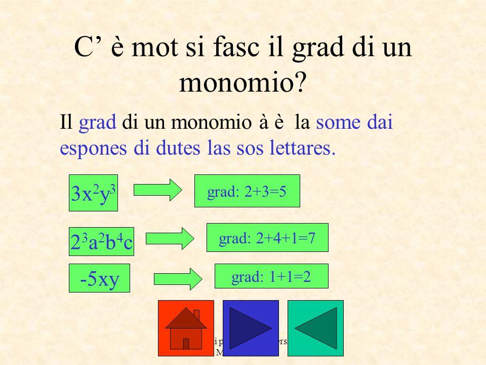 a cure dai prof. Roberto Orsaria e Monica Secco C' è mot si fasc il grad di un monomio? Il grad di un monomio à è la some dai espones di dutes las sos