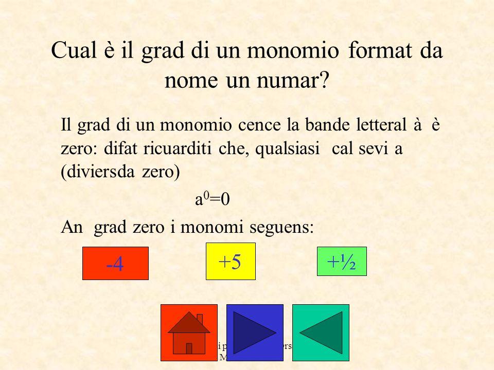a cure dai prof. Roberto Orsaria e Monica Secco Cual è il grad di un monomio format da nome un numar? Il grad di un monomio cence la bande letteral à
