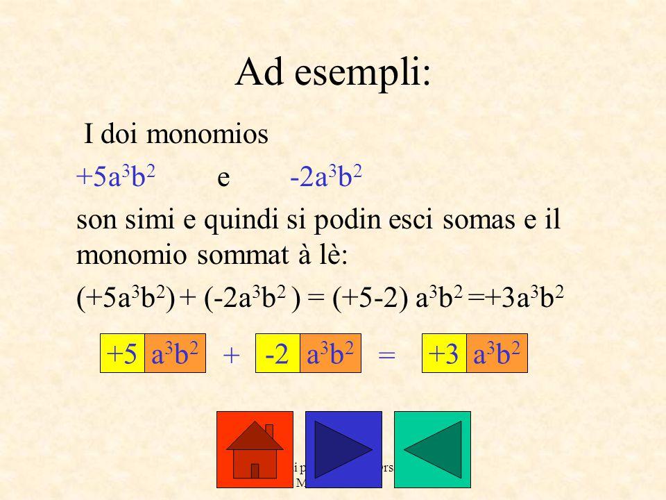 a cure dai prof. Roberto Orsaria e Monica Secco Ad esempli: I doi monomios +5a 3 b 2 e -2a 3 b 2 son simi e quindi si podin esci somas e il monomio so