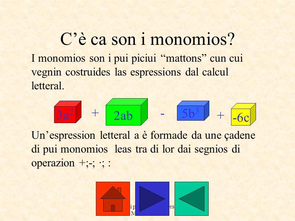 """a cure dai prof. Roberto Orsaria e Monica Secco C'è ca son i monomios? I monomios son i pui piciui """"mattons"""" cun cui vegnin costruides las espressions"""