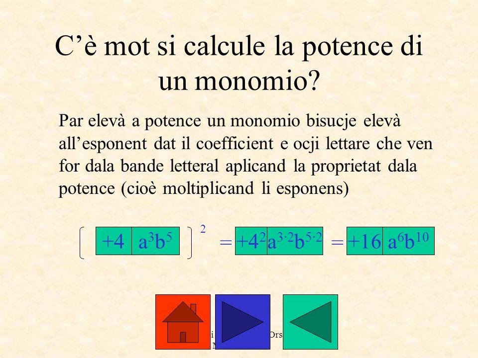 a cure dai prof. Roberto Orsaria e Monica Secco C'è mot si calcule la potence di un monomio? Par elevà a potence un monomio bisucje elevà all'esponent