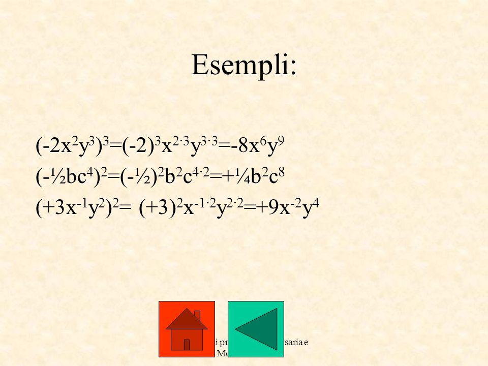 a cure dai prof. Roberto Orsaria e Monica Secco Esempli: (-2x 2 y 3 ) 3 =(-2) 3 x 2·3 y 3·3 =-8x 6 y 9 (-½bc 4 ) 2 =(-½) 2 b 2 c 4·2 =+¼b 2 c 8 (+3x -