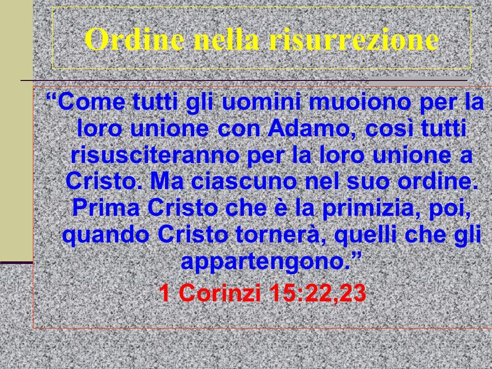 Ordine nella risurrezione Come tutti gli uomini muoiono per la loro unione con Adamo, così tutti risusciteranno per la loro unione a Cristo.