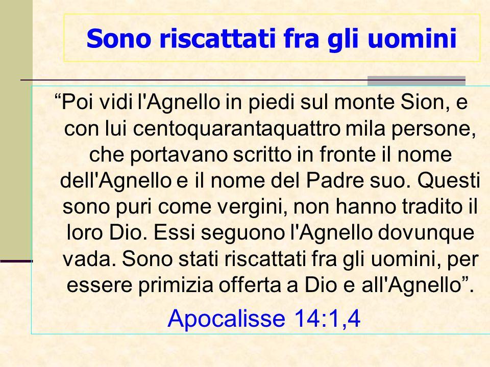 Sono riscattati fra gli uomini Poi vidi l Agnello in piedi sul monte Sion, e con lui centoquarantaquattro mila persone, che portavano scritto in fronte il nome dell Agnello e il nome del Padre suo.