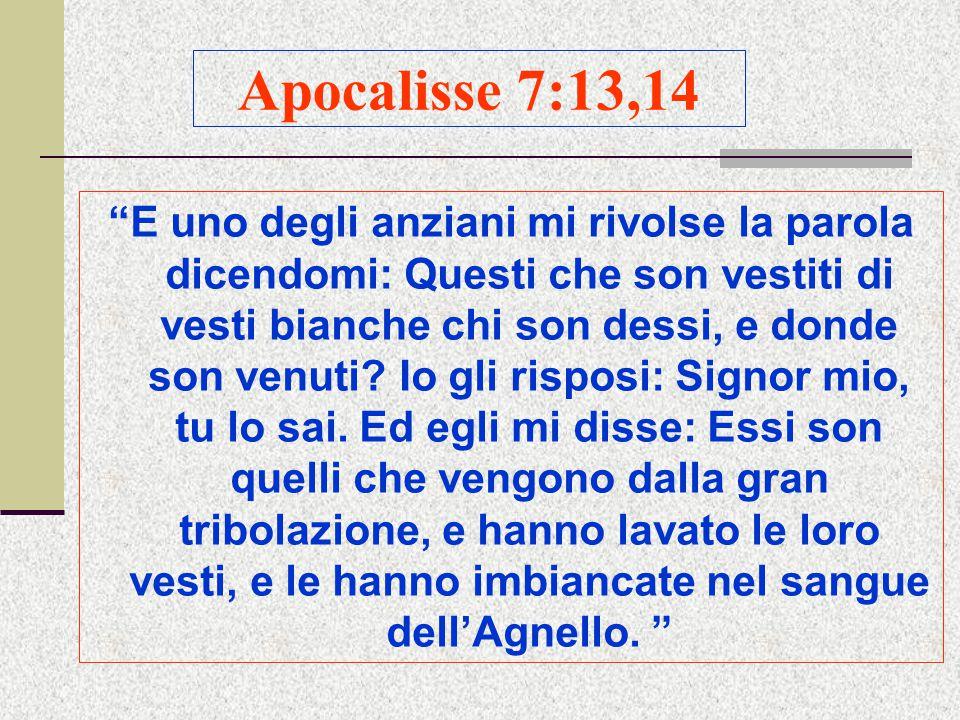 Apocalisse 7:13,14 E uno degli anziani mi rivolse la parola dicendomi: Questi che son vestiti di vesti bianche chi son dessi, e donde son venuti.