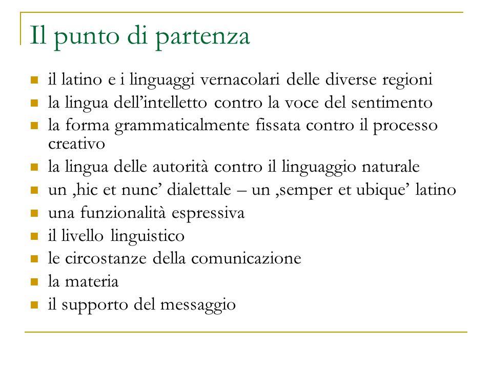Il punto di partenza il latino e i linguaggi vernacolari delle diverse regioni la lingua dell'intelletto contro la voce del sentimento la forma gramma