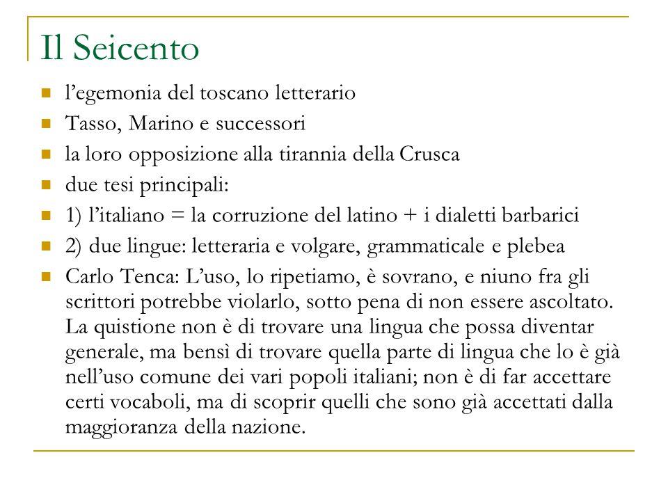 Il Seicento l'egemonia del toscano letterario Tasso, Marino e successori la loro opposizione alla tirannia della Crusca due tesi principali: 1) l'ital