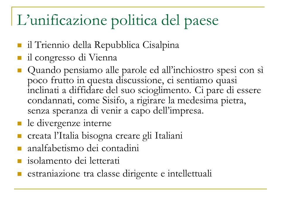 L'unificazione politica del paese il Triennio della Repubblica Cisalpina il congresso di Vienna Quando pensiamo alle parole ed all'inchiostro spesi co
