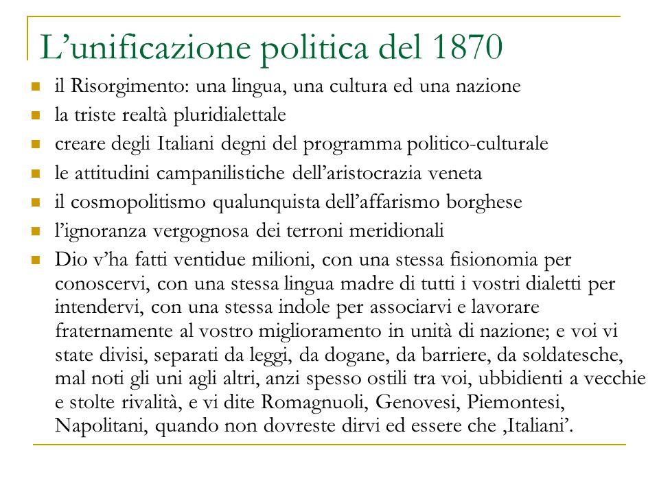 L'unificazione politica del 1870 il Risorgimento: una lingua, una cultura ed una nazione la triste realtà pluridialettale creare degli Italiani degni