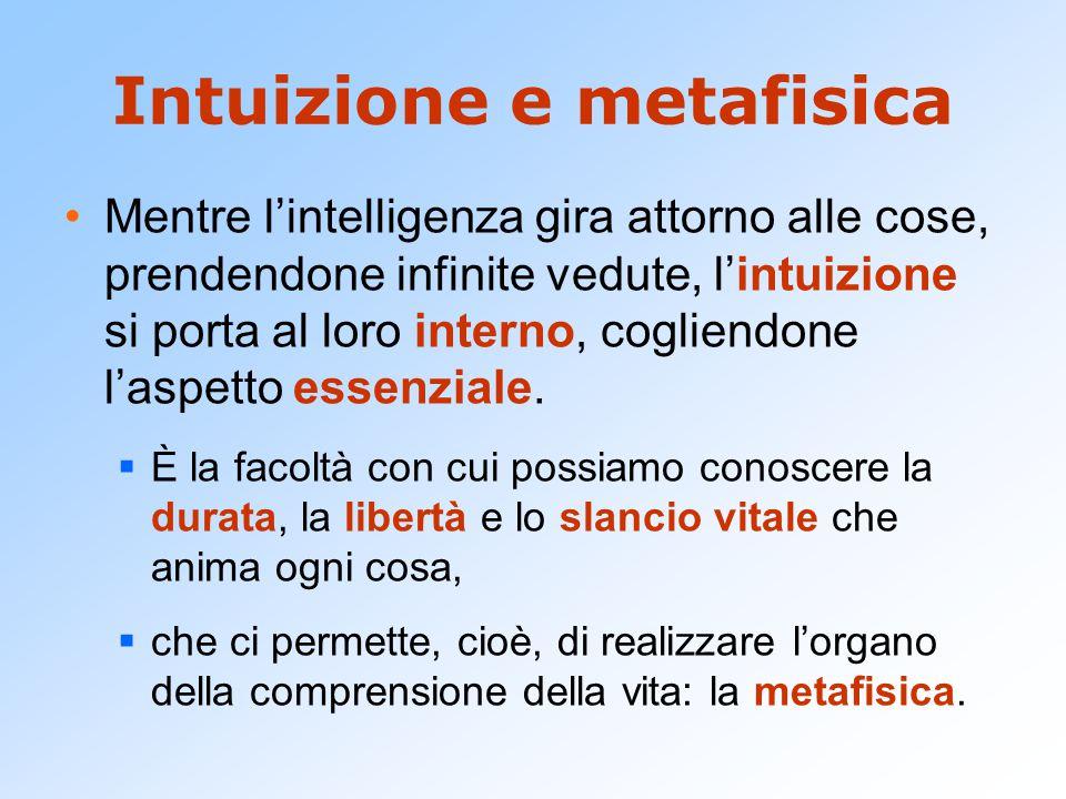 Intuizione e metafisica Mentre l'intelligenza gira attorno alle cose, prendendone infinite vedute, l'intuizione si porta al loro interno, cogliendone