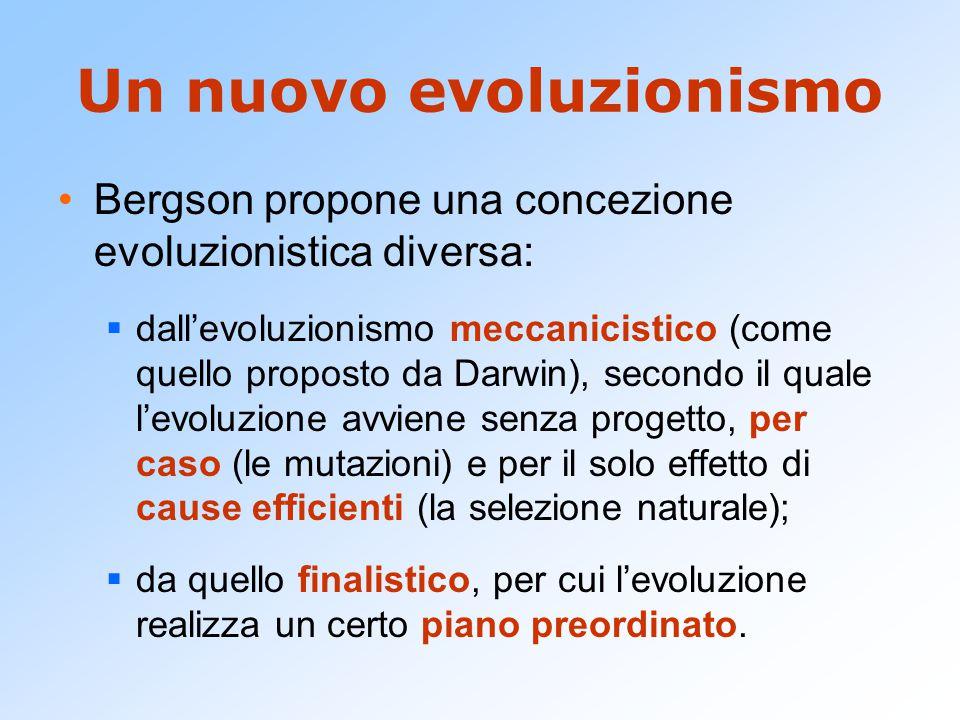 Un nuovo evoluzionismo Bergson propone una concezione evoluzionistica diversa:  dall'evoluzionismo meccanicistico (come quello proposto da Darwin), s