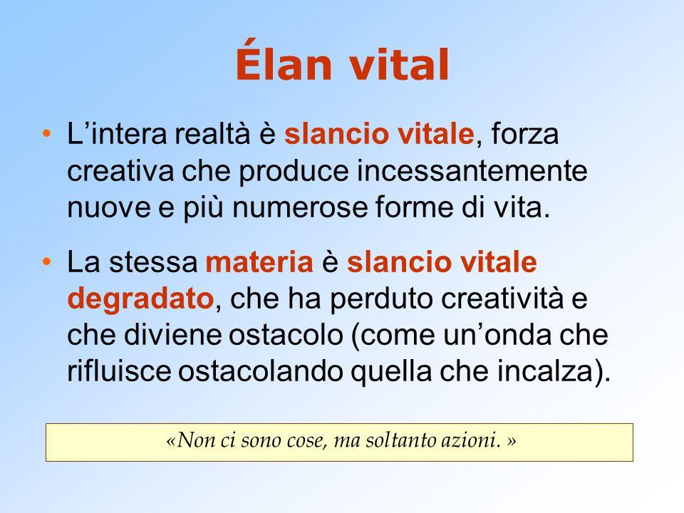 Élan vital L'intera realtà è slancio vitale, forza creativa che produce incessantemente nuove e più numerose forme di vita. La stessa materia è slanci