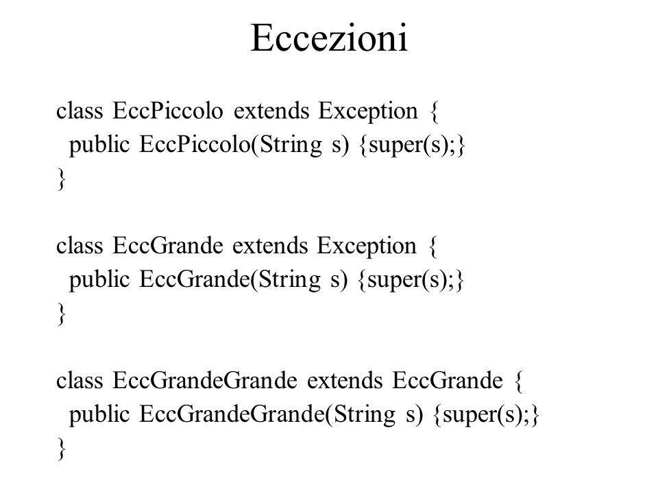 Eccezioni class EccPiccolo extends Exception { public EccPiccolo(String s) {super(s);} } class EccGrande extends Exception { public EccGrande(String s
