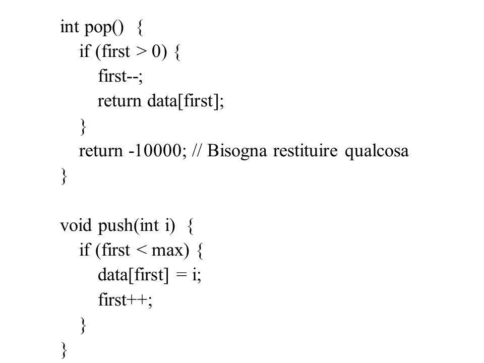 int pop() { if (first > 0) { first--; return data[first]; } return -10000; // Bisogna restituire qualcosa } void push(int i) { if (first < max) { data