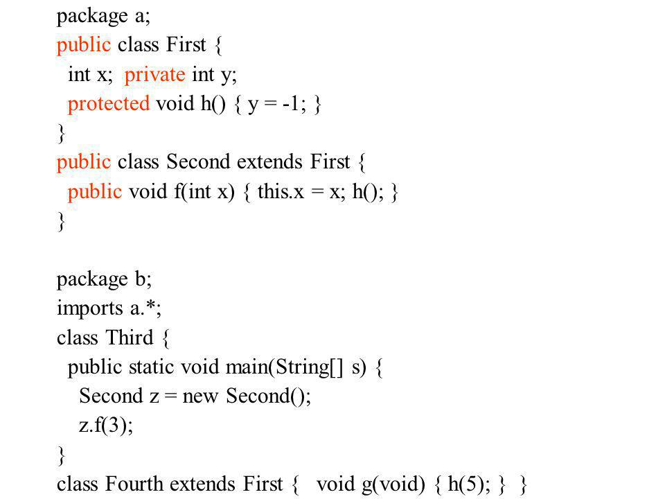package a; public class First { int x; private int y; protected void h() { y = -1; } } public class Second extends First { public void f(int x) { this
