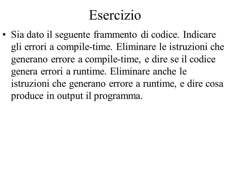 Esercizio Sia dato il seguente frammento di codice.