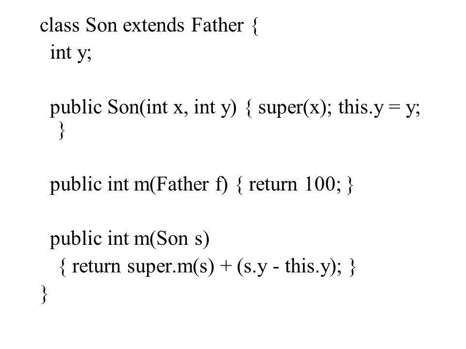 class Son extends Father { int y; public Son(int x, int y) { super(x); this.y = y; } public int m(Father f) { return 100; } public int m(Son s) { retu