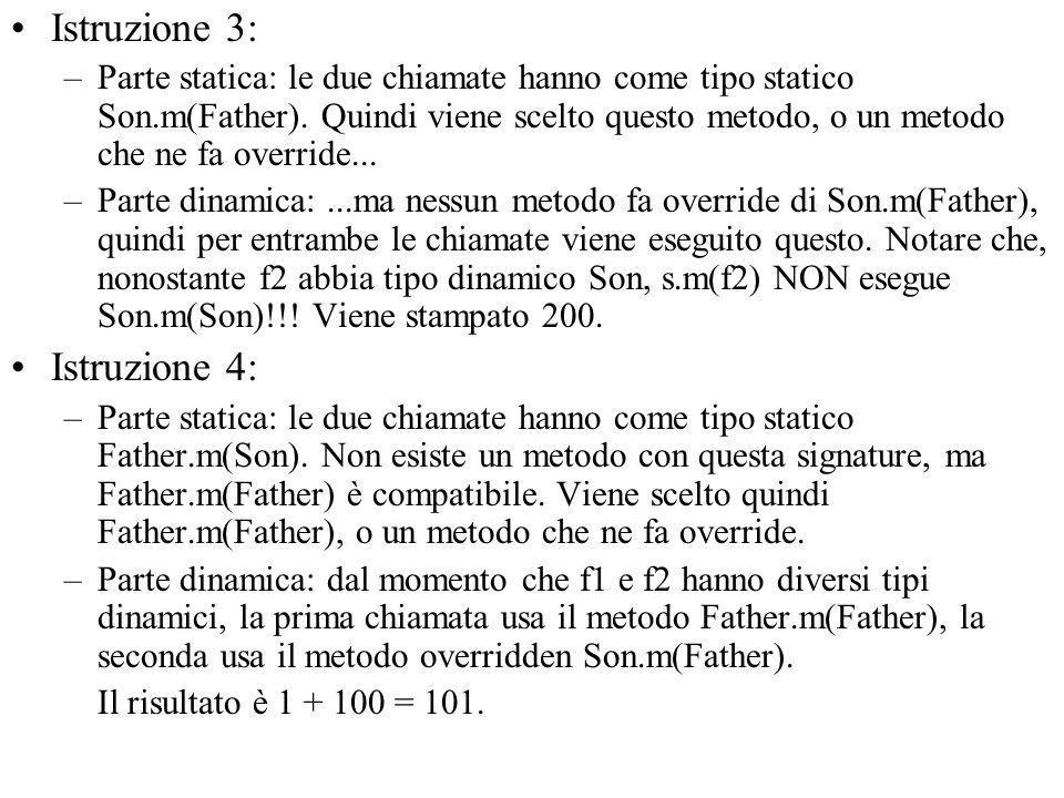 Istruzione 3: –Parte statica: le due chiamate hanno come tipo statico Son.m(Father).