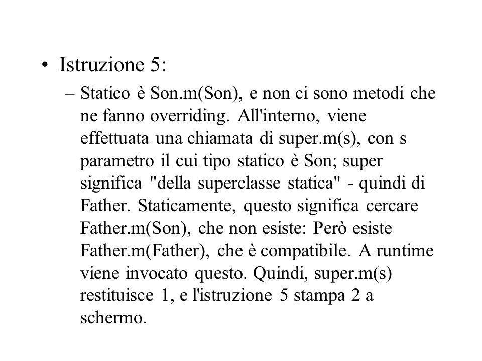 Istruzione 5: –Statico è Son.m(Son), e non ci sono metodi che ne fanno overriding.