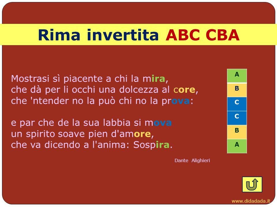 www.didadada.it Rima invertita ABC CBA Mostrasi sì piacente a chi la mira, che dà per li occhi una dolcezza al core, che 'ntender no la può chi no la
