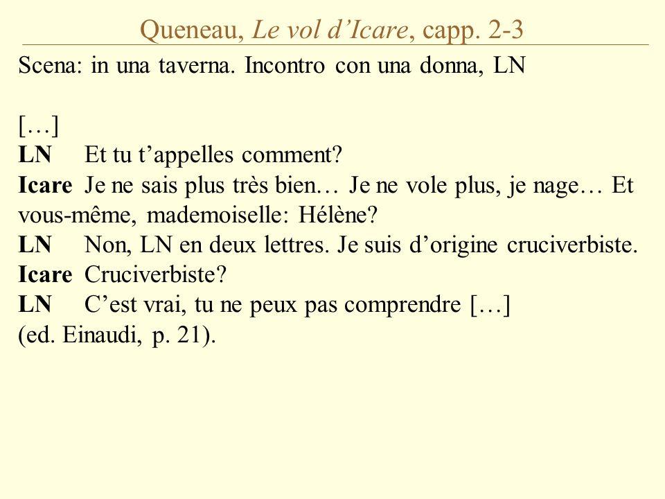 Queneau, Le vol d'Icare, capp. 2-3 Scena: in una taverna. Incontro con una donna, LN […] LNEt tu t'appelles comment? IcareJe ne sais plus très bien… J