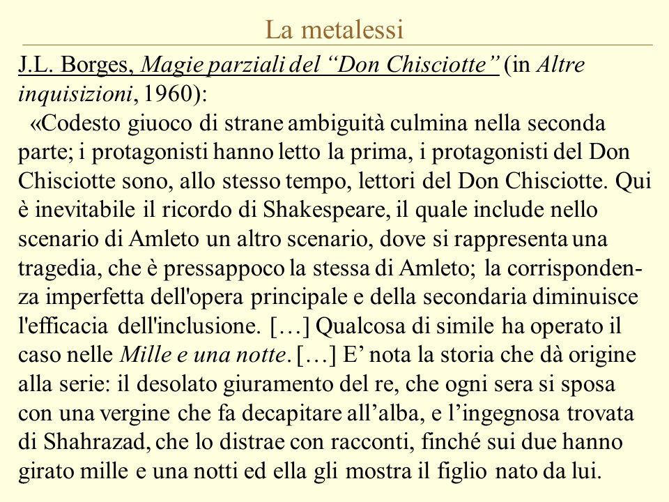 """La metalessi J.L. Borges, Magie parziali del """"Don Chisciotte"""" (in Altre inquisizioni, 1960): «Codesto giuoco di strane ambiguità culmina nella seconda"""