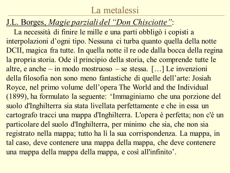 """La metalessi J.L. Borges, Magie parziali del """"Don Chisciotte"""": La necessità di finire le mille e una parti obbligò i copisti a interpolazioni d'ogni t"""