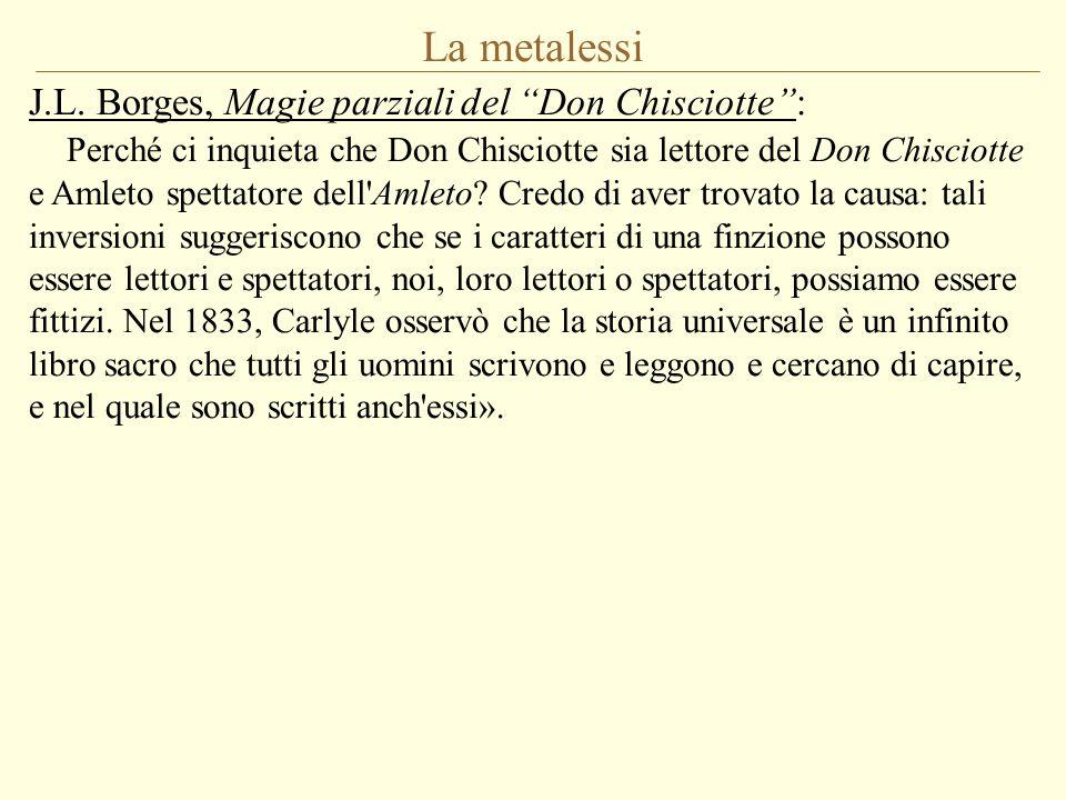 """La metalessi J.L. Borges, Magie parziali del """"Don Chisciotte"""": Perché ci inquieta che Don Chisciotte sia lettore del Don Chisciotte e Amleto spettator"""