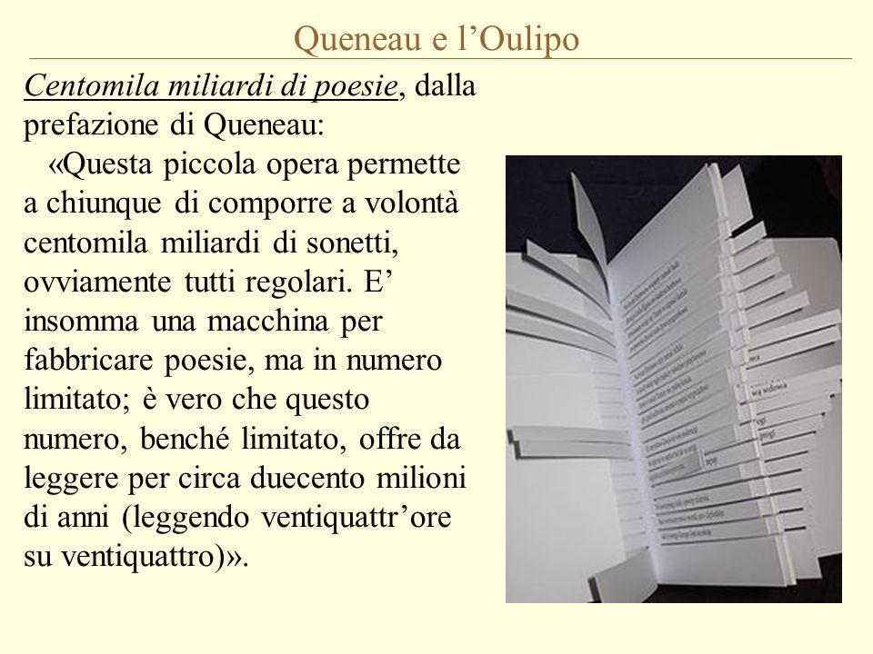 Queneau e l'Oulipo Centomila miliardi di poesie, dalla prefazione di Queneau: «Questa piccola opera permette a chiunque di comporre a volontà centomil