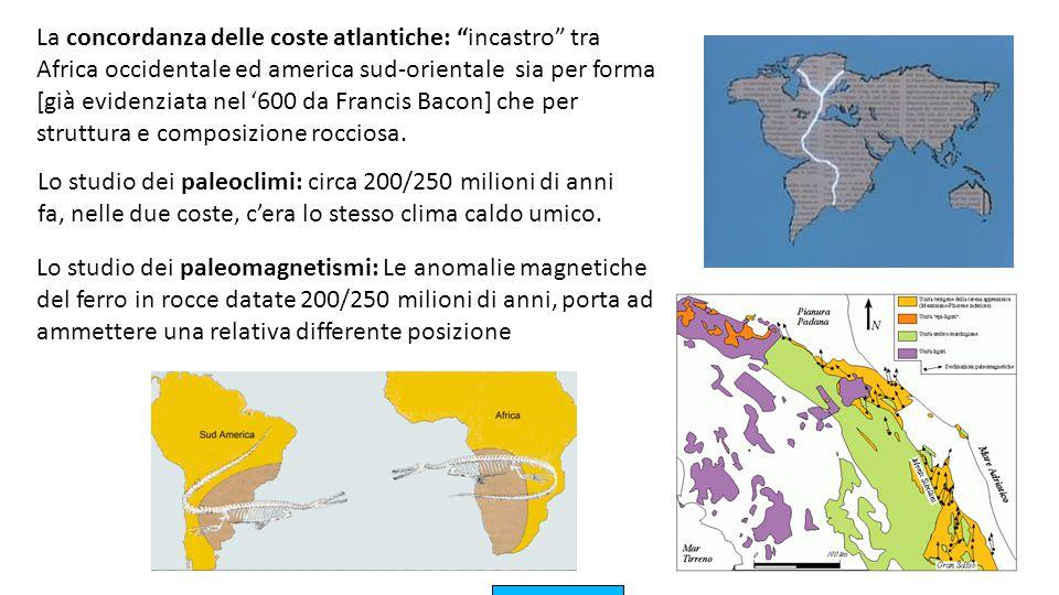 """La concordanza delle coste atlantiche: """"incastro"""" tra Africa occidentale ed america sud-orientale sia per forma [già evidenziata nel '600 da Francis B"""