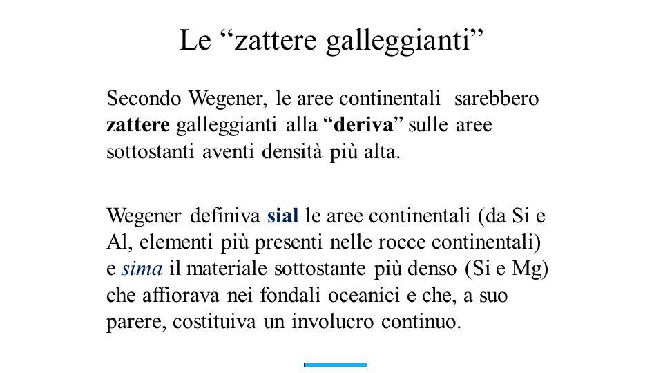 """Le """"zattere galleggianti"""" Secondo Wegener, le aree continentali sarebbero zattere galleggianti alla """"deriva"""" sulle aree sottostanti aventi densità più"""